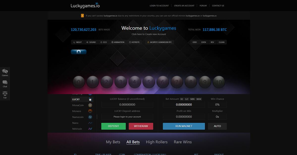 LuckyGames.io Screenshot